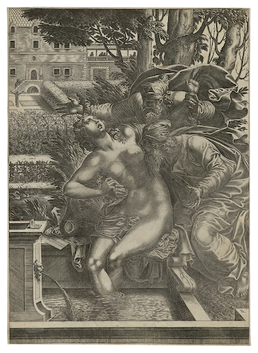 Rene Boyvin Susannah and the Elders 1525? – Angers – c.1582 Engraving after Rosso Fiorentino (1494 Florence – 1540 Paris) or Lucca Penni (1500 Florence – 1556 Paris). Size of sheet: 31.4 Å~ 22.5 cm. Two watermarks: Heraldic shield surmounted by ecclesiastical hat and tassels (6 on either side?) and an X-shaped emblem with perhaps two fasces, with letter A in the lower part of the X. Literature: R.-D. 3 (I/II (?); Bruce Davis, cat. no 68. Provenance: 17th-century initial and numbering in brown ink. (Not in Lugt).